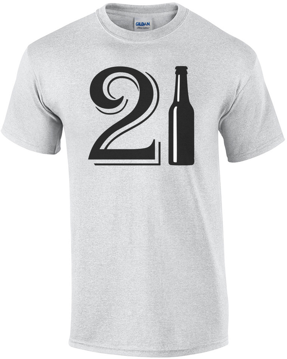 21 Birthday Beer Bottle Happy Tshirt Mens Regular Ash