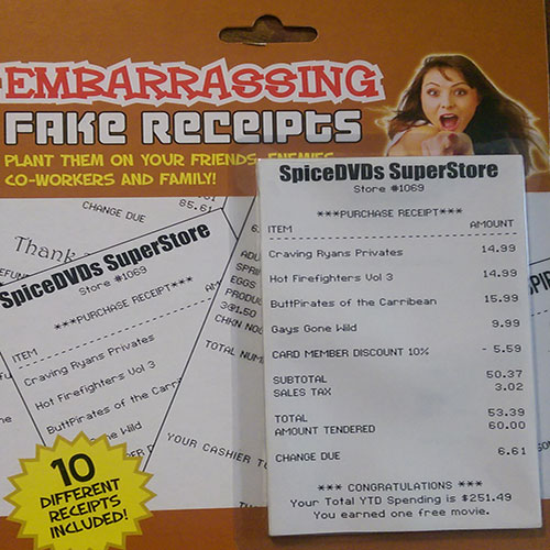embarrassing fake receipts 10 pack cool product