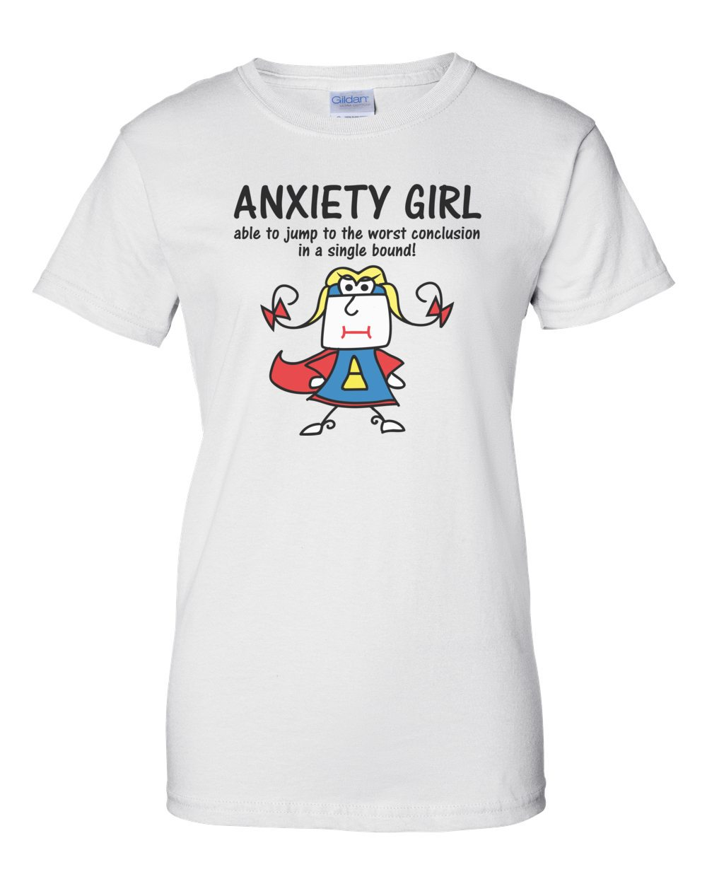 10758610 Anxiety girl - able to jump to the worst conclusion in a single bound! - Funny  T-Shirt