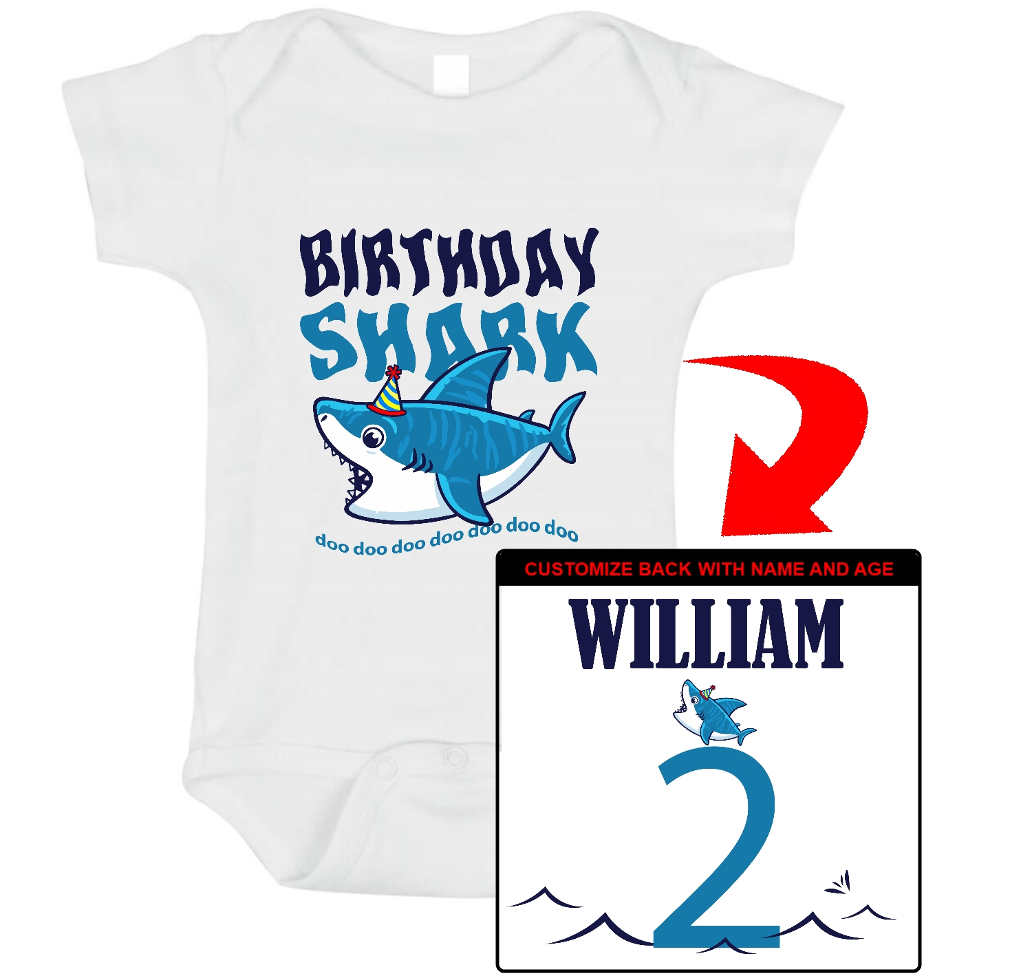 0d66185fc Birthday Shark - First Birthday Shirt. 1st Birthday Shirt. Boys Happy  Birthday. Custom T-Shirt with your boys name and age. Personalized Birthday  T-Shirt