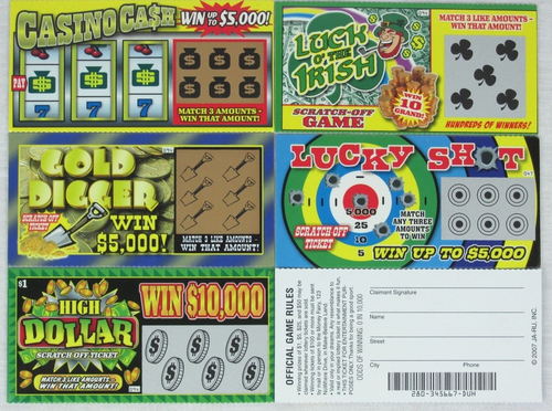 5 Pack Fake Lotto Tickets