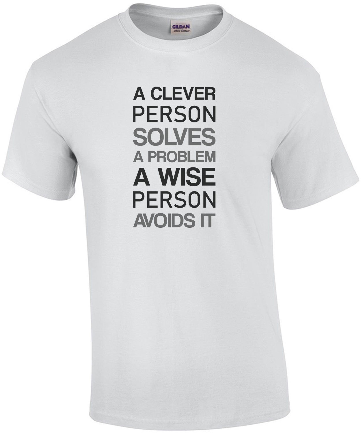 A clever person solves a problem a wise person avoids it - funny t-shirt