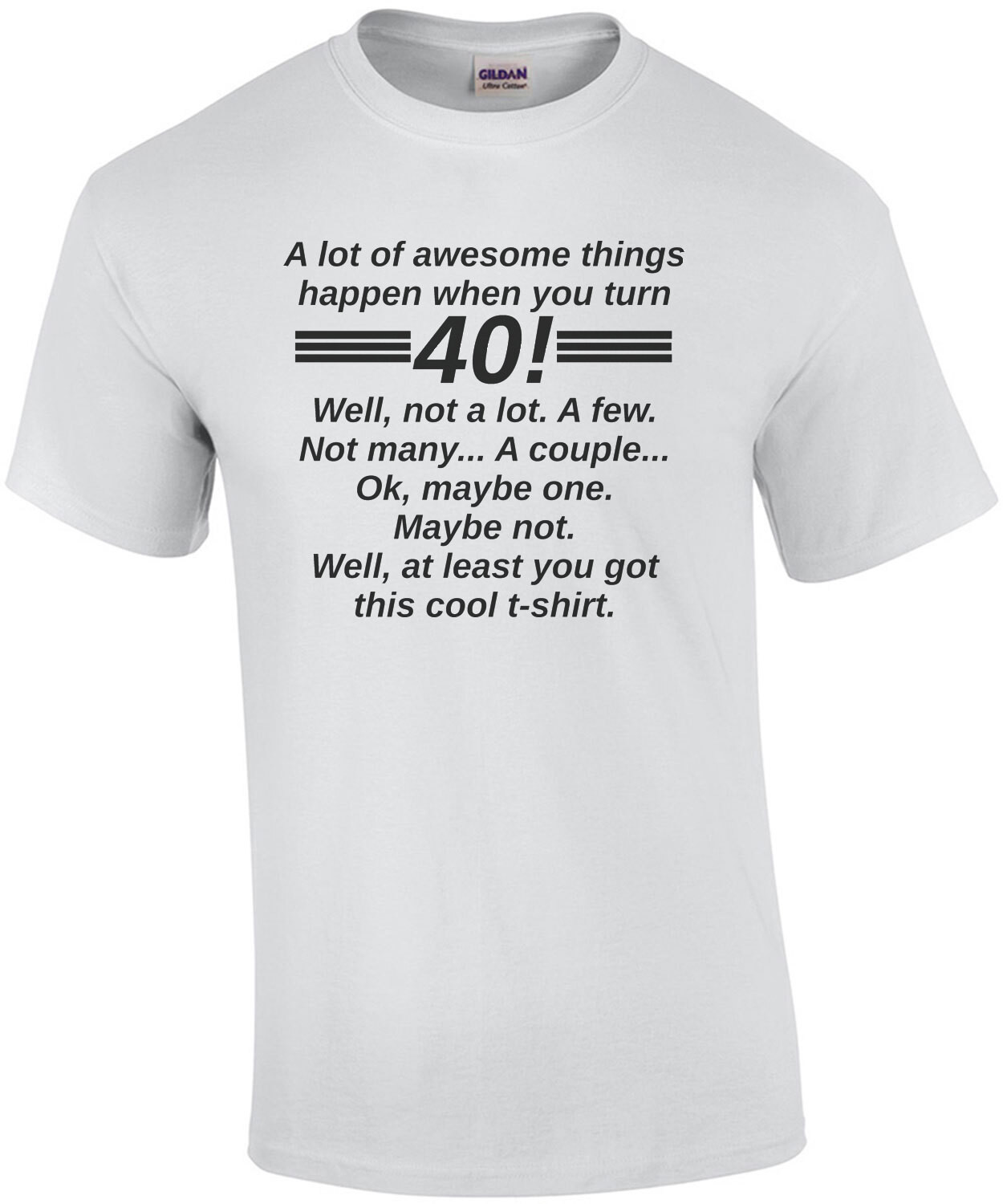 A lot of awesome things happen when you turn 40! Well, not a lot. A few. Not many... A couple... Ok, maybe one. Maybe not. Well, at least you got this cool t-shirt. 40th birthday t-shirt