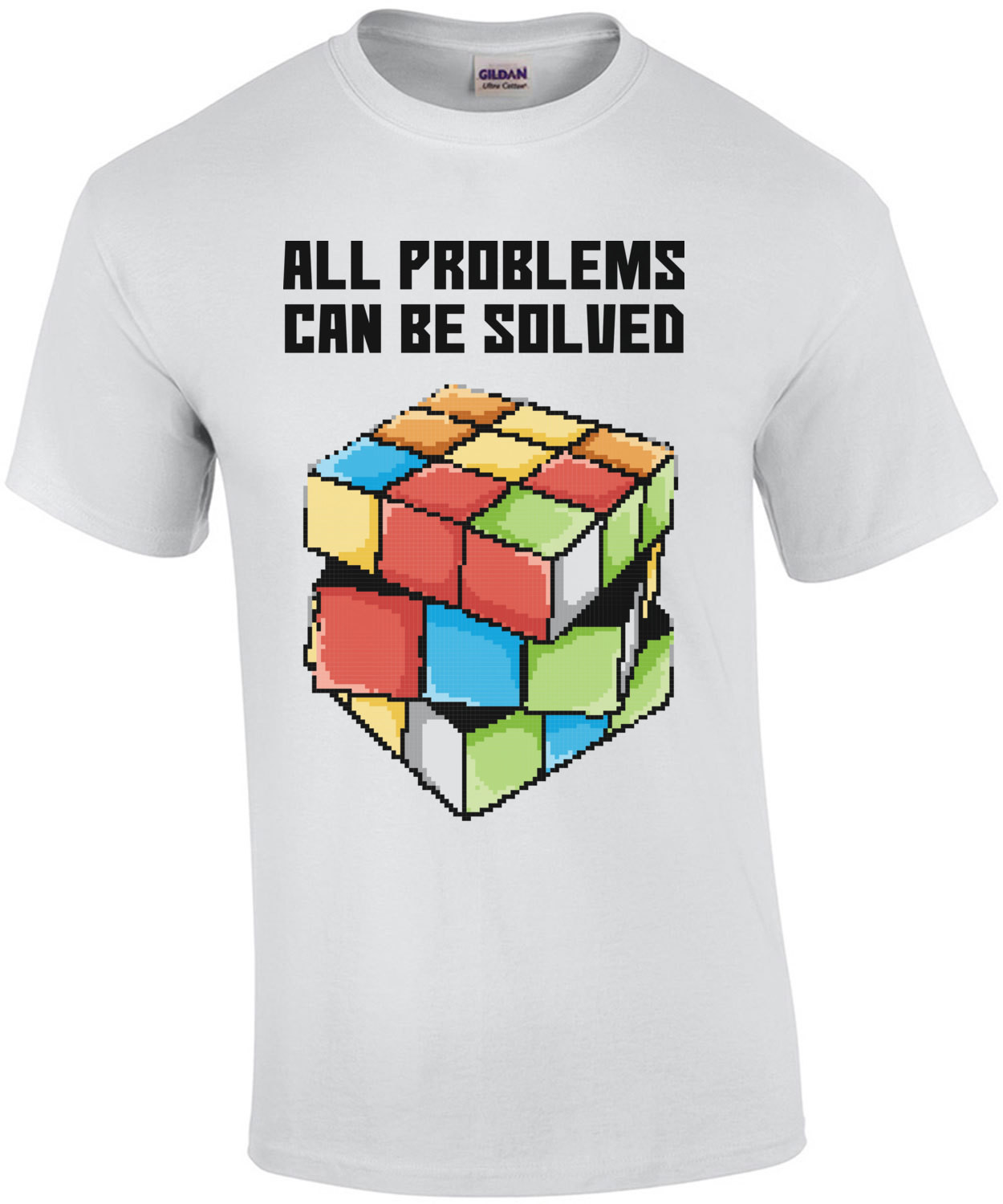 All Problems Can Be Solved Retro Rubiks Cube T-Shirt