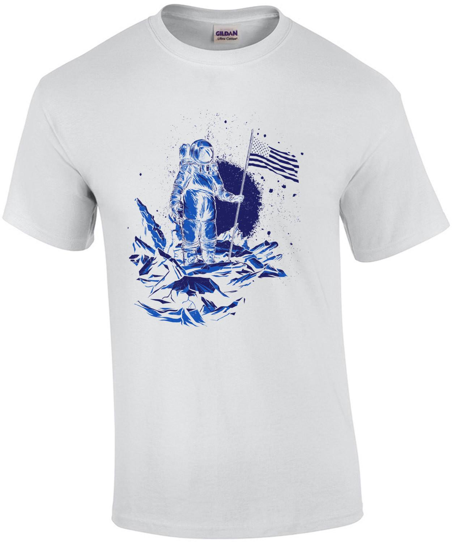 America Lands On Moon Patriotic Astronaut T-Shirt