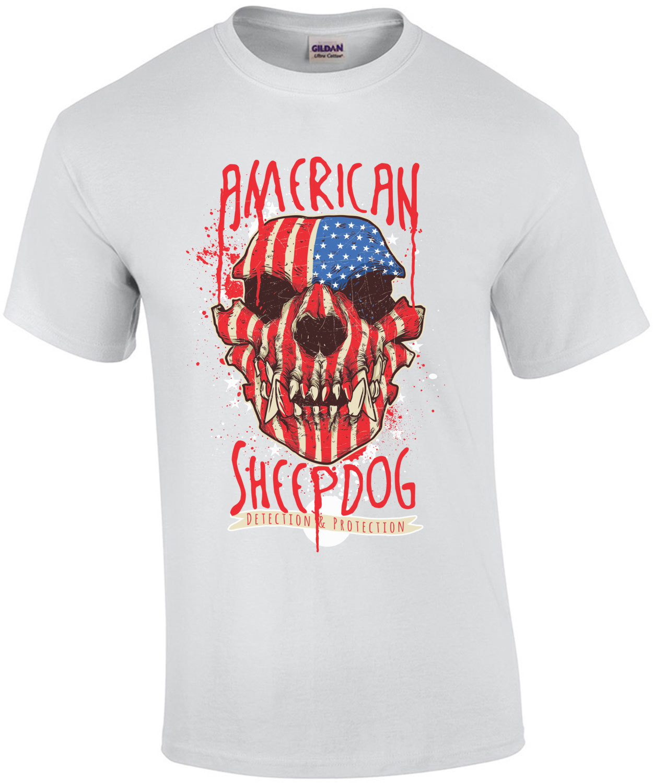 American Sheep Dog Patriotic Gothic T-Shirt