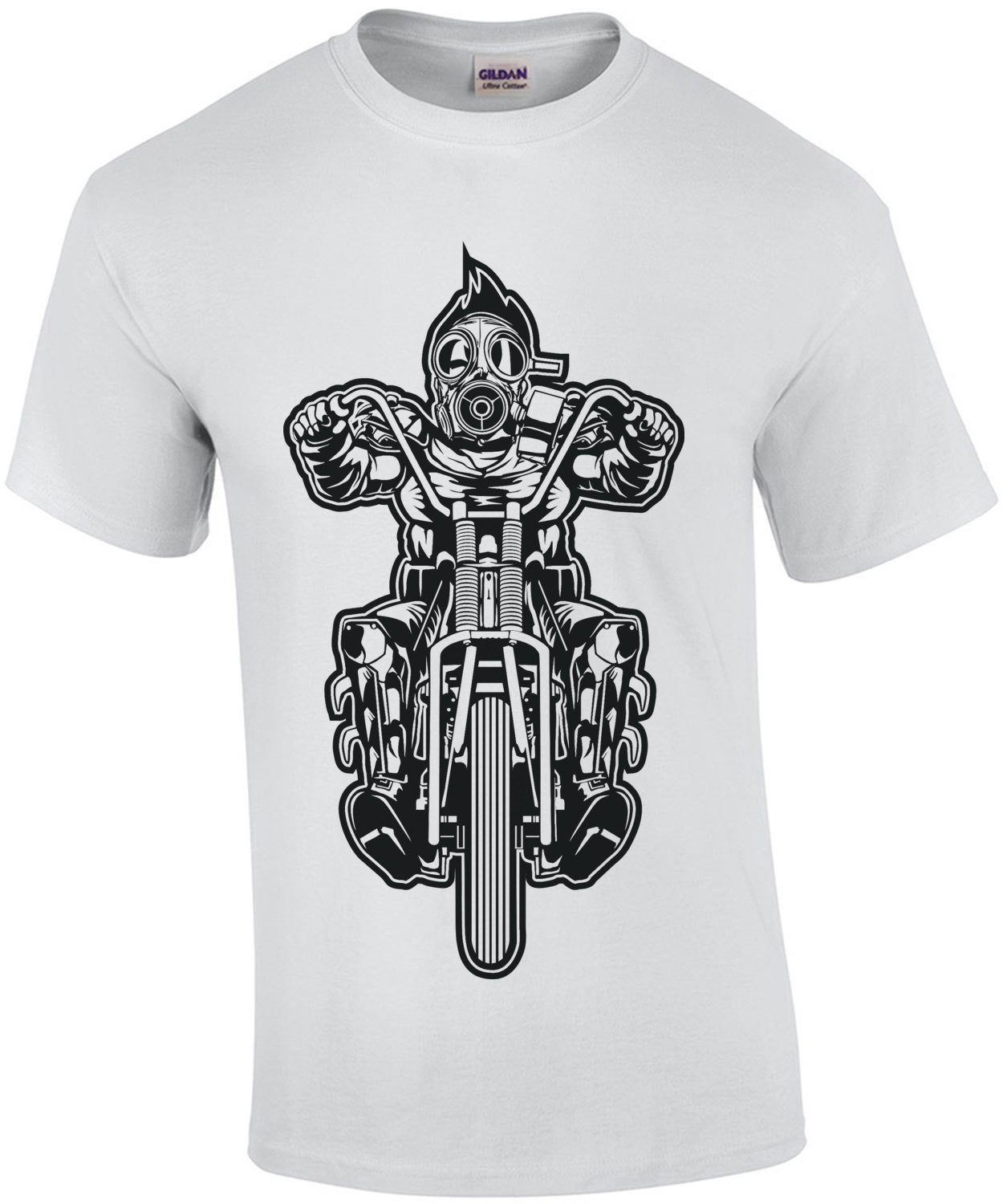 Apocalyptic Biker With Gas Mask T-Shirt
