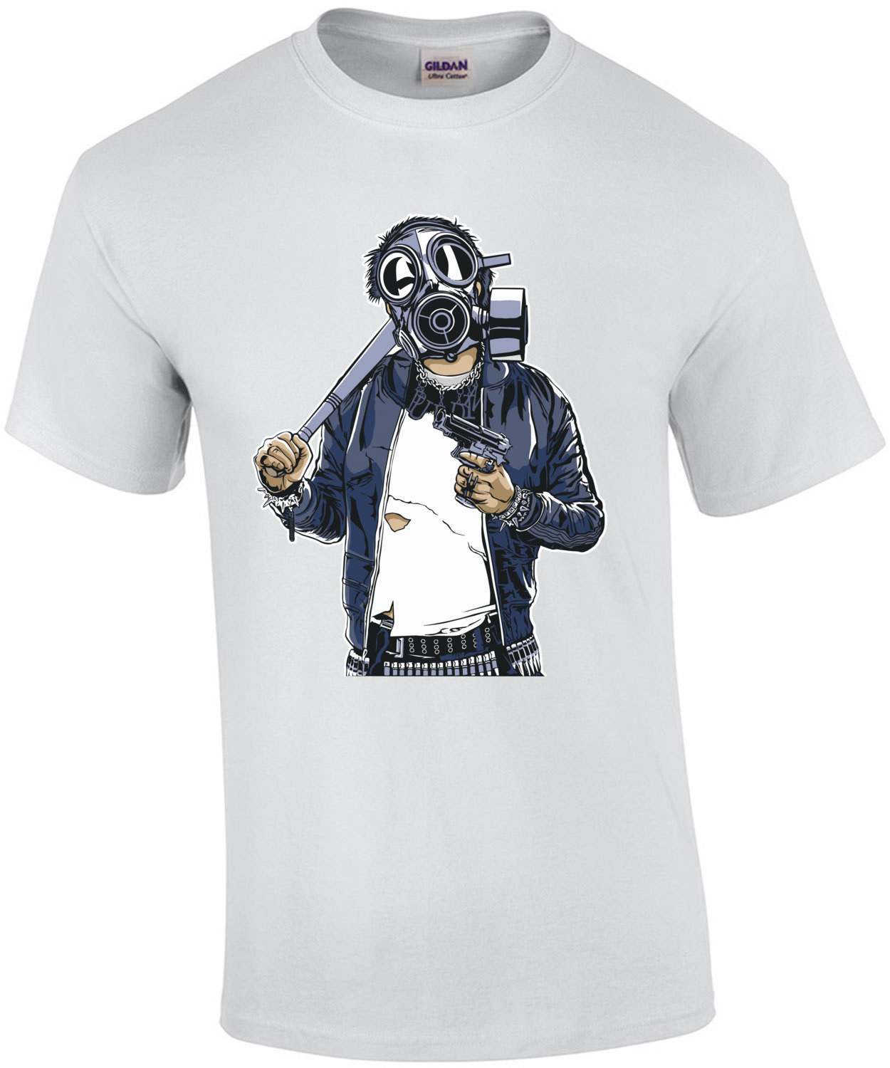 Apocalyptic Soldier Wearing Gas Mask T-Shirt
