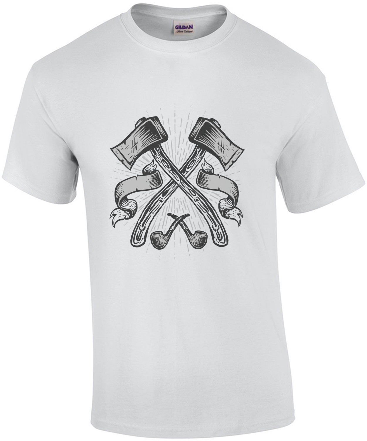Axes And Pipes Manly Man Lumberjack T-Shirt