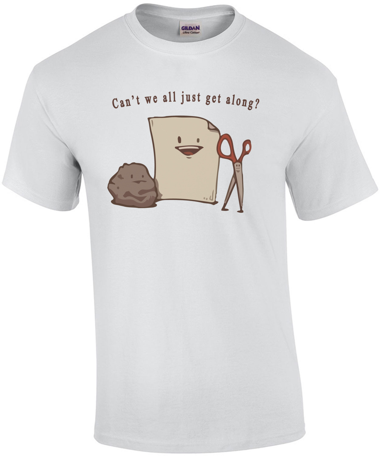 Can't we all just get along? Rock Paper Scissors - Funny T-Shirt