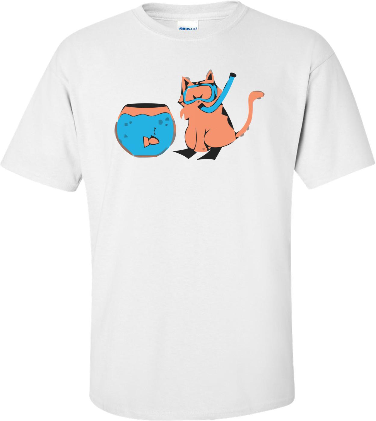 Cat Snorkel Funny Shirt