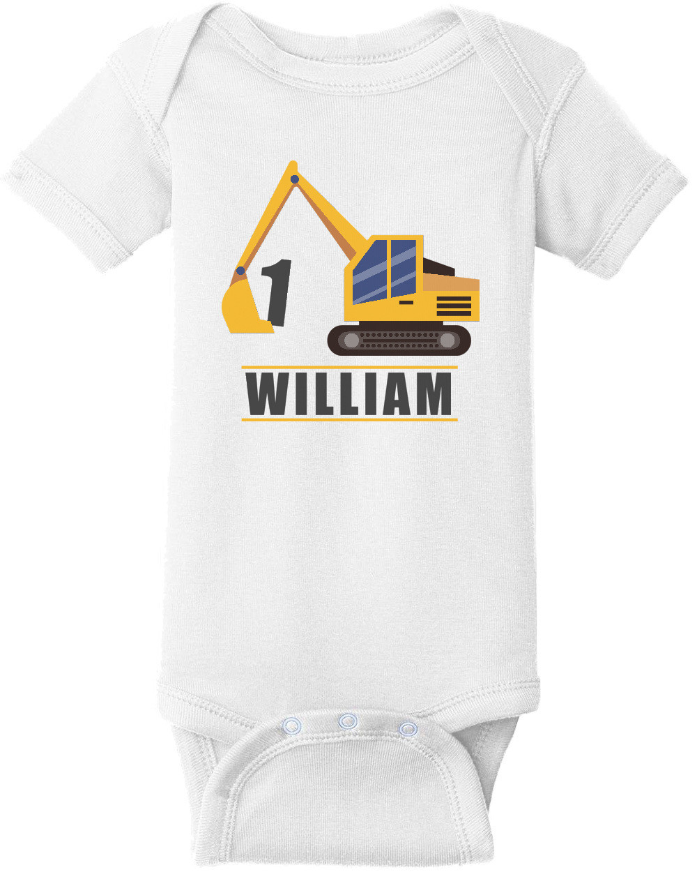 Caterpiller Construction Boy's Birthday T-Shirt - Happy Birthday. Custom T-Shirt with your boys name and age. Personalized Birthday T-Shirt
