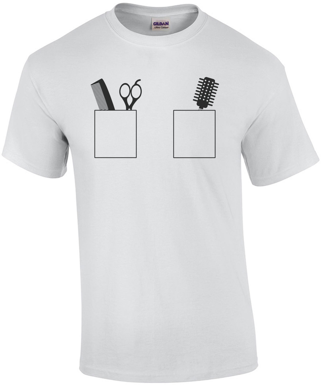 Comb, Scissors, Brush in pockets - Cute Hair Dresser - Hair Stylist T-Shirt