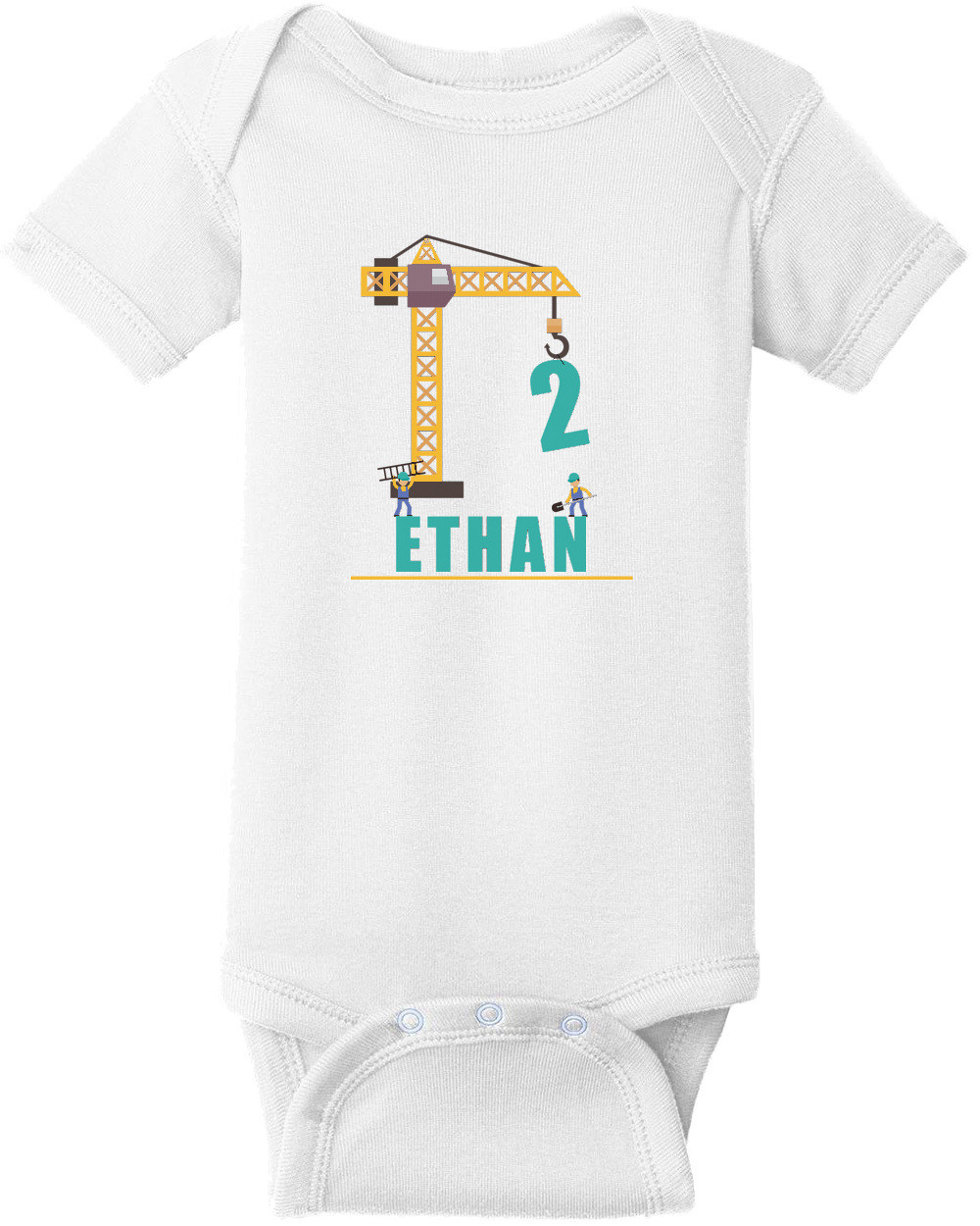 Construction Boy's Birthday -  Custom T-Shirt with your boys name and age. Personalized Birthday T-Shirt