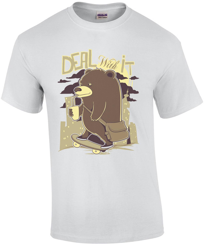 Deal With It Skateboarding Bear T-Shirt