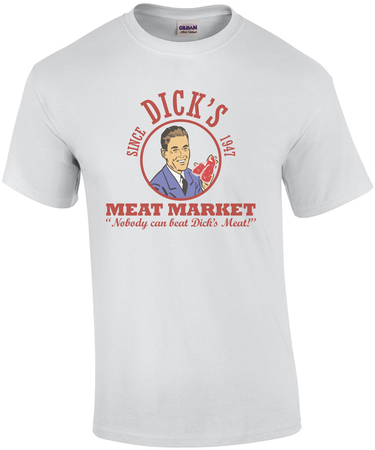 Dick's meat market - nobody can beat dicks meat! Funny vintage t-shirt