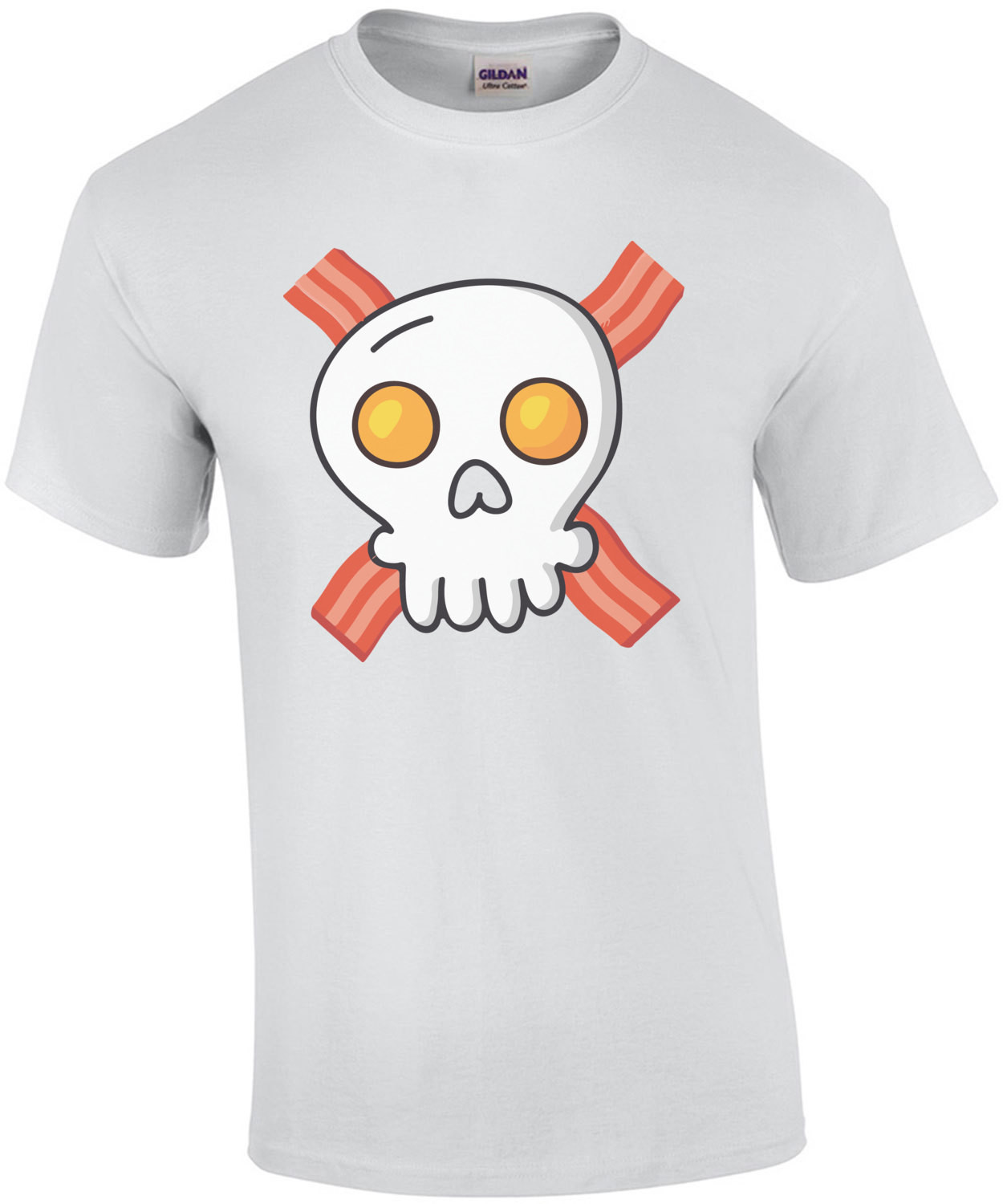 Eggs and bacon - skull and crossbones - funny breakfast t-shirt