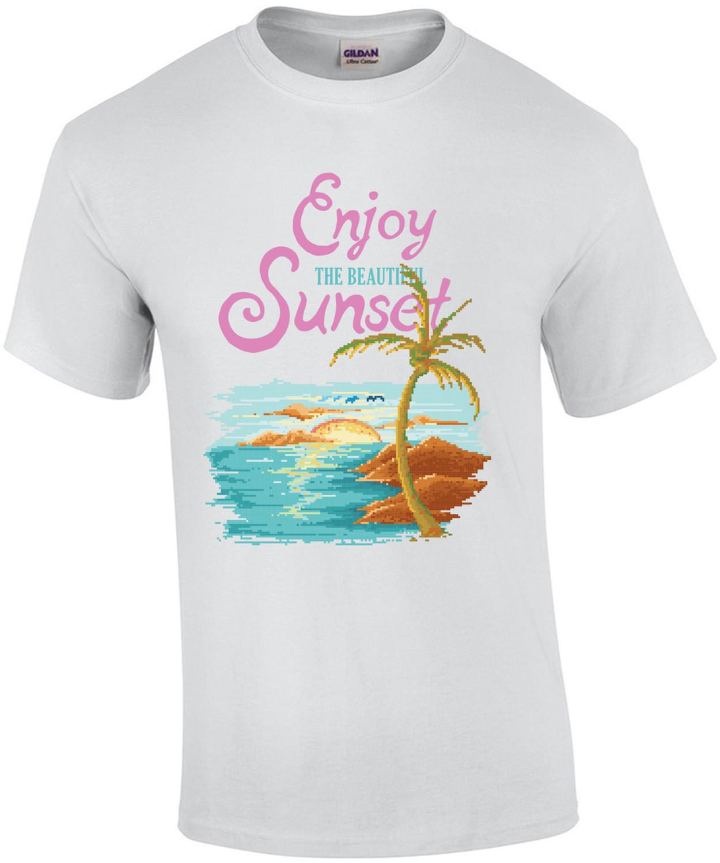 Enjoy The Beautiful Sunset Motivational Retro T-Shirt