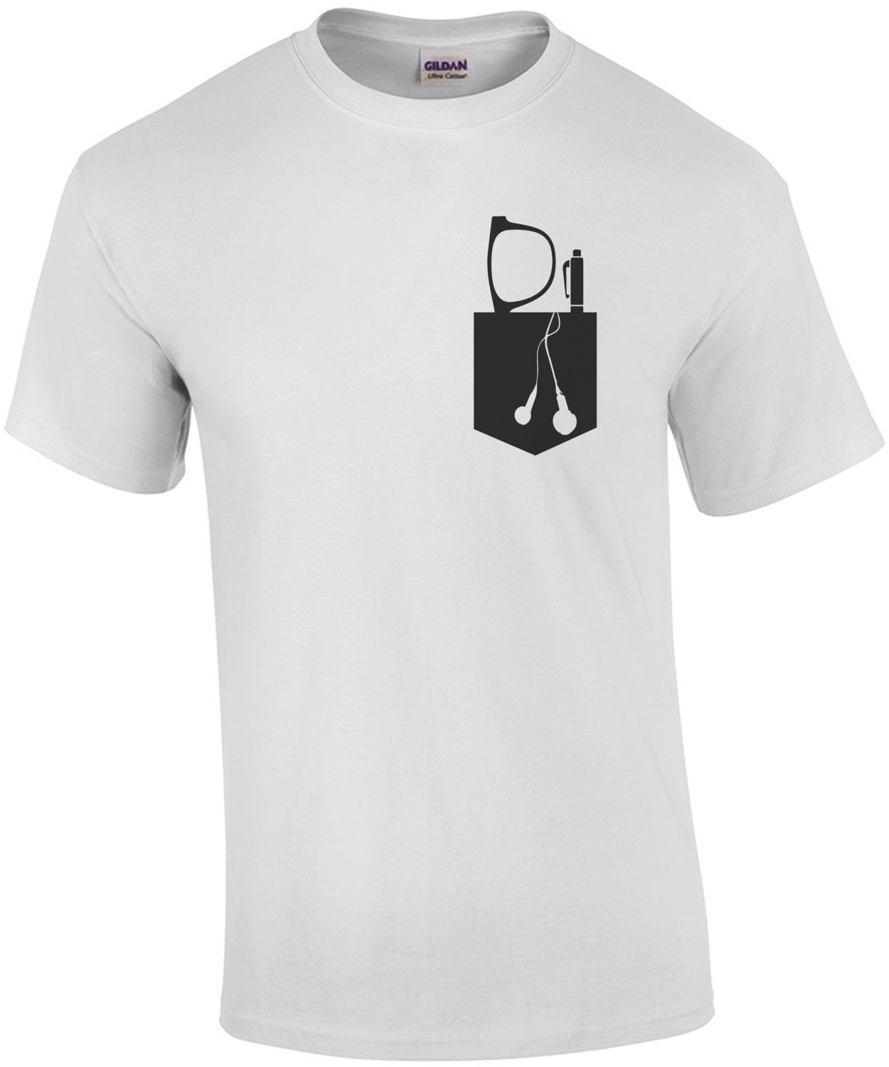 Glasses, Pen, and Ear Buds In Pocket T-Shirt