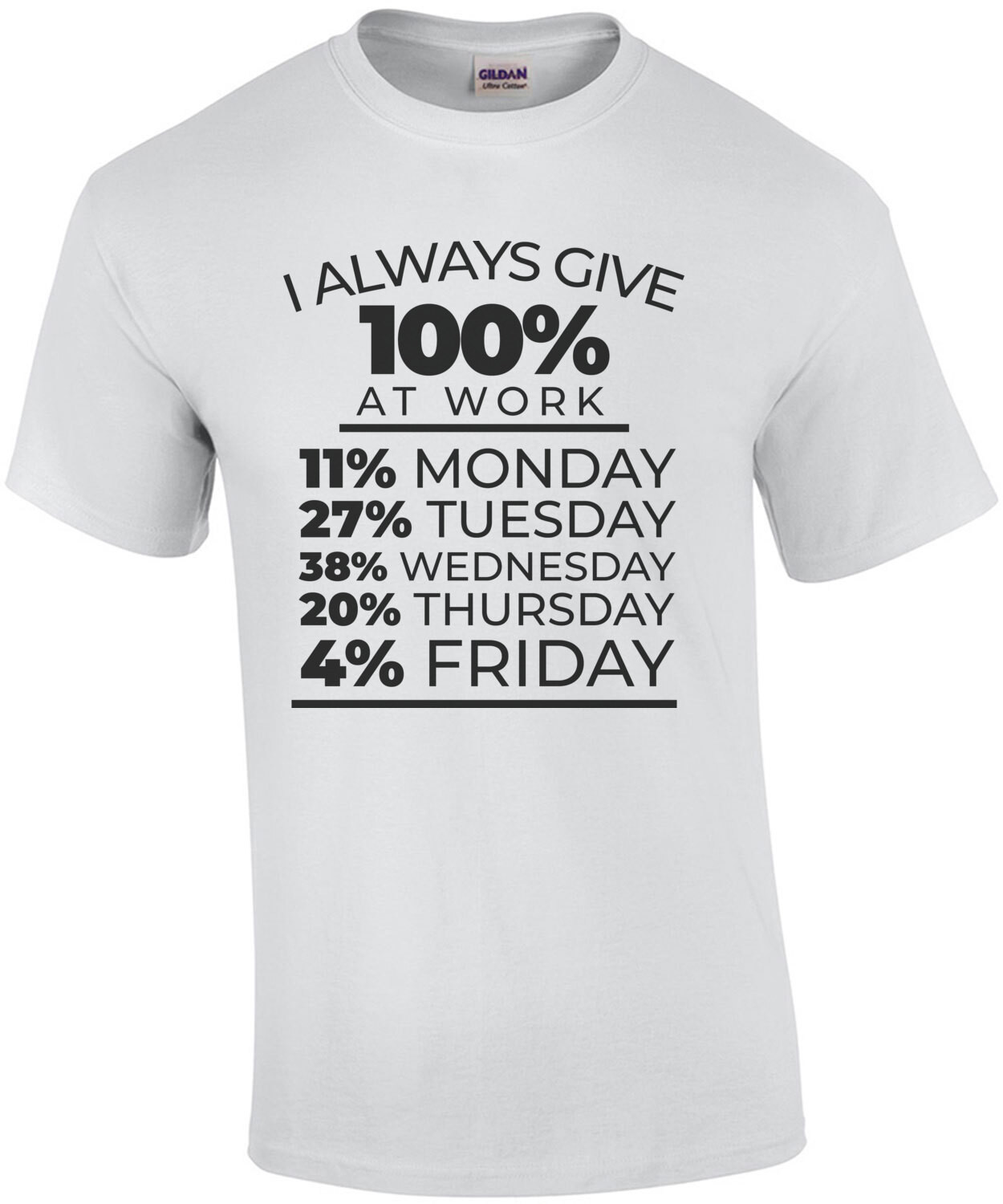 I always give 100% at work - 11% monday 27% tuesday - funny work office humor t-shirt