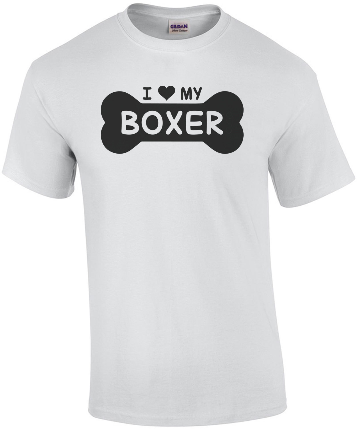 I love my boxer - dog bone - boxer t-shirt
