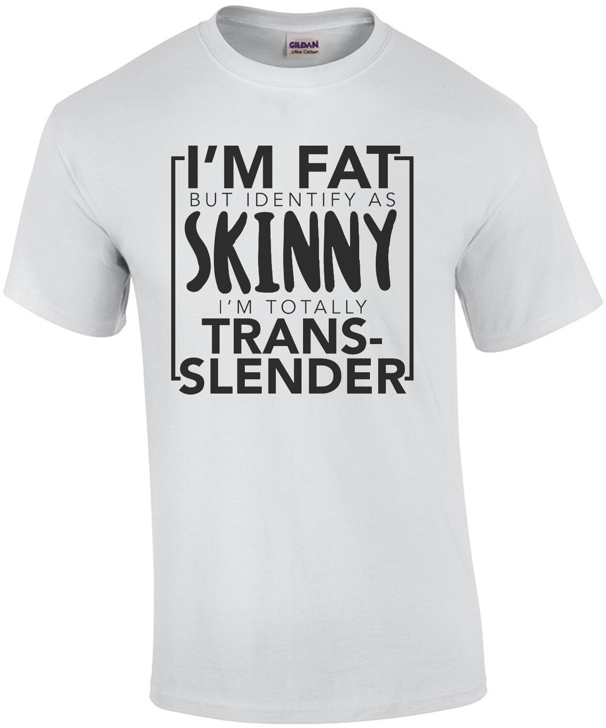 I'm fat but identify as skinny - I'm totally trans-slender funny t-shirt