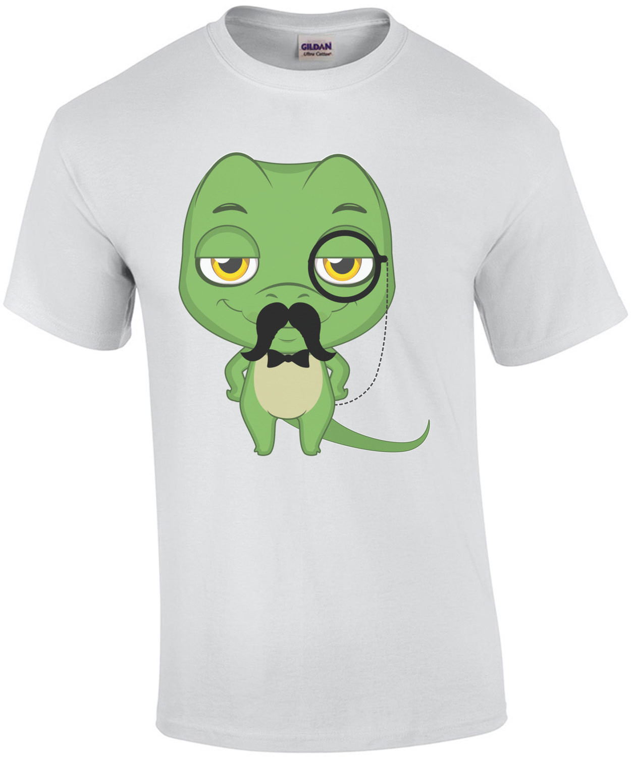 Lizard with a mustache wearing a monocle t-shirt
