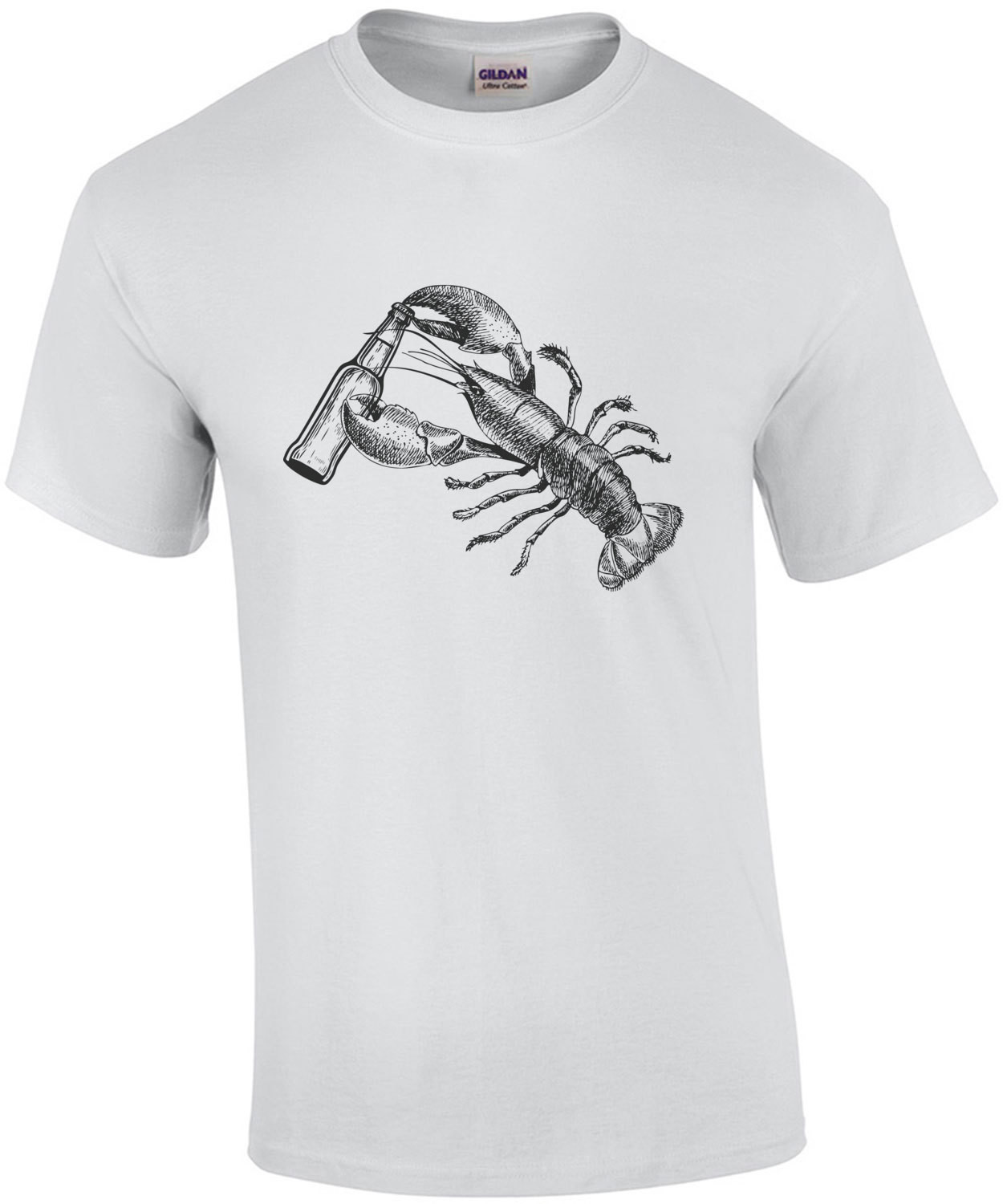 Lobster opening beer bottle t-shirt. Funny lobster t-shirt. Maine T-Shirt