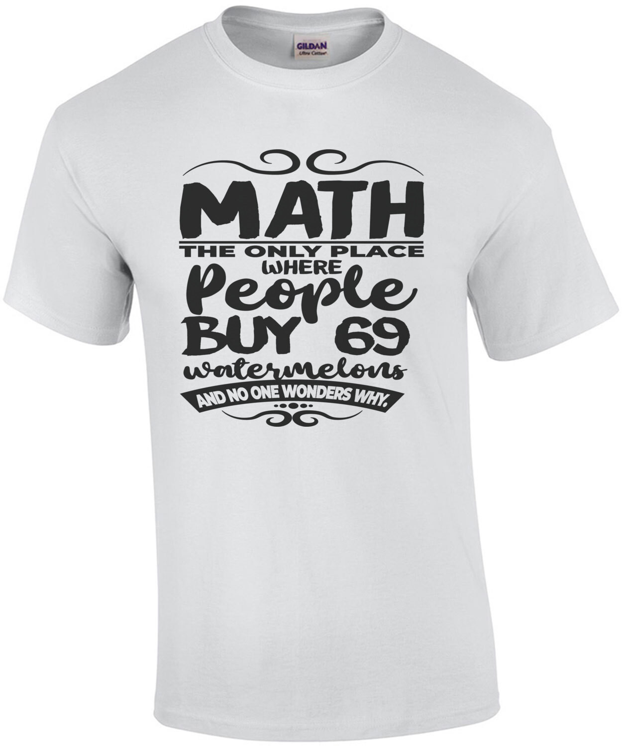 Math - the only place where people buy 69 watermelons and no one wonders why. Funny Math T-Shirt