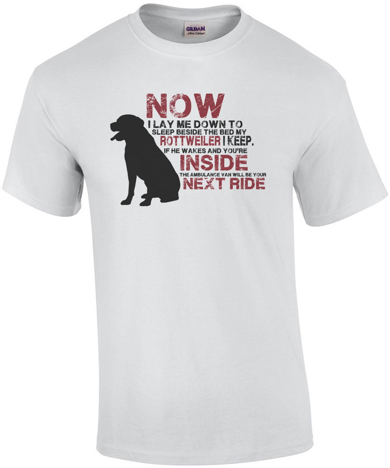 Now I lay me down to sleep beside my bed my rottweiler I keep. Rottweiler t-shirt
