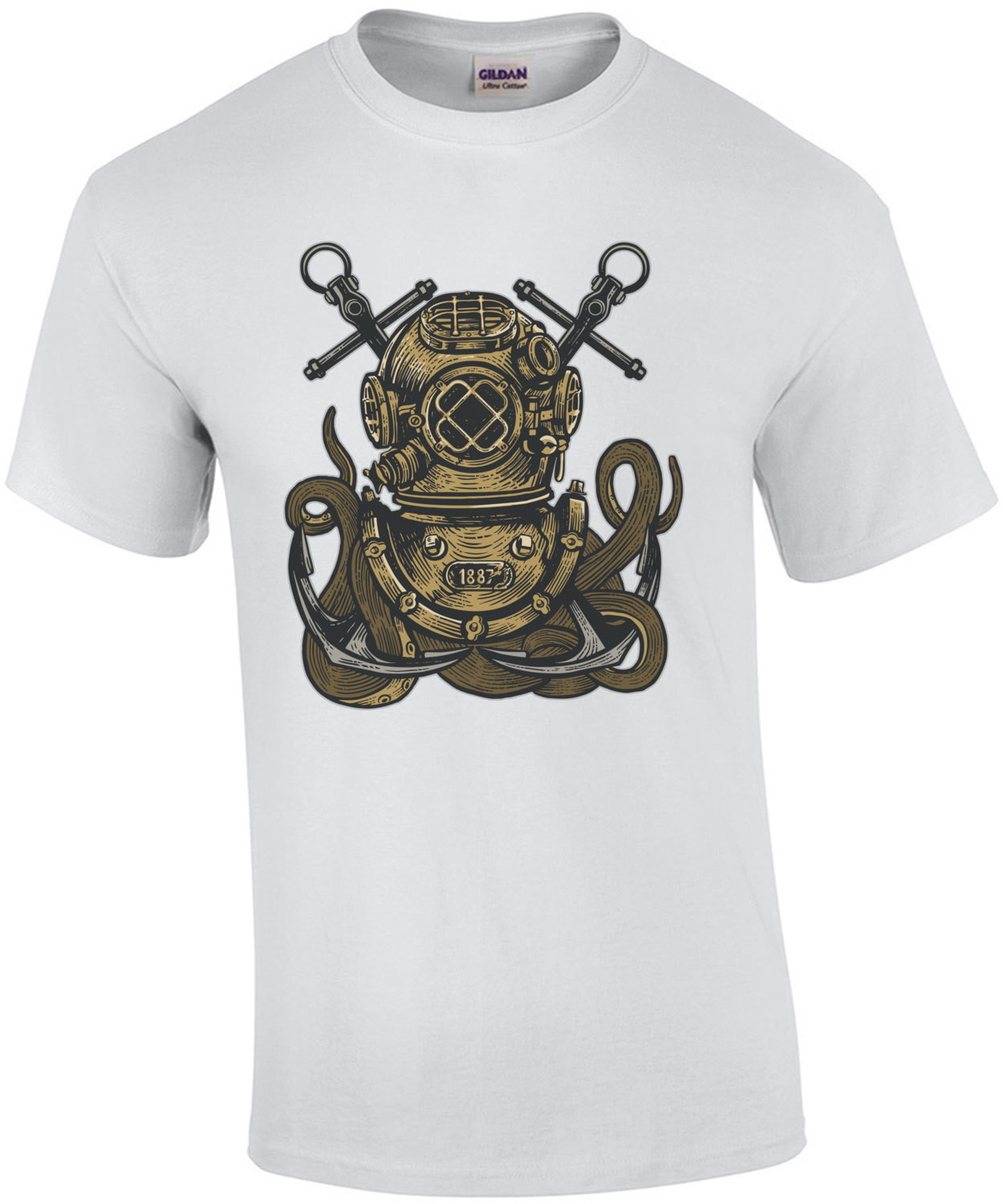 Octopus In A Diving Helmet Surreal T-Shirt