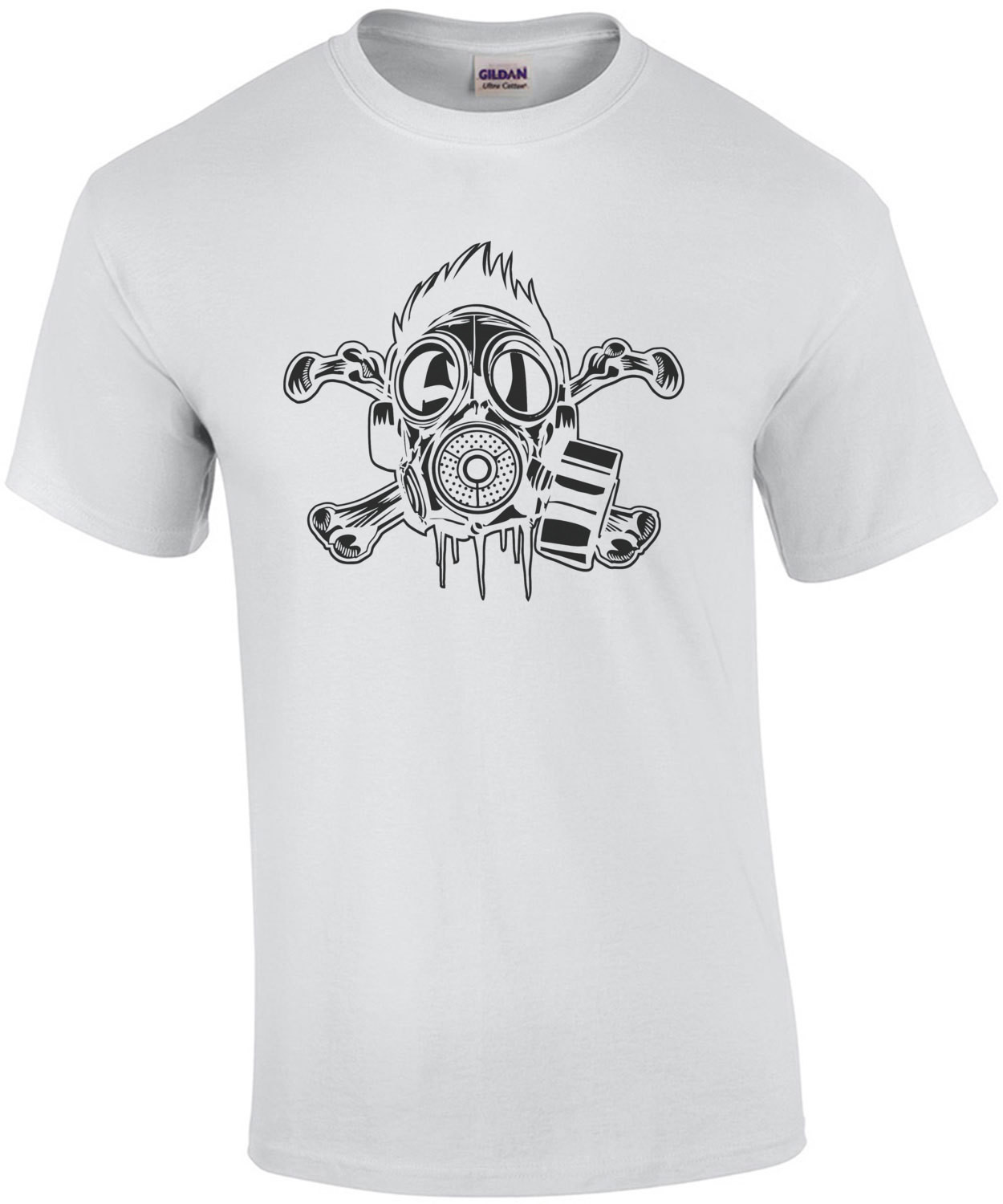 Skull And Crossbones Gas Mask Apocalyptic T-Shirt