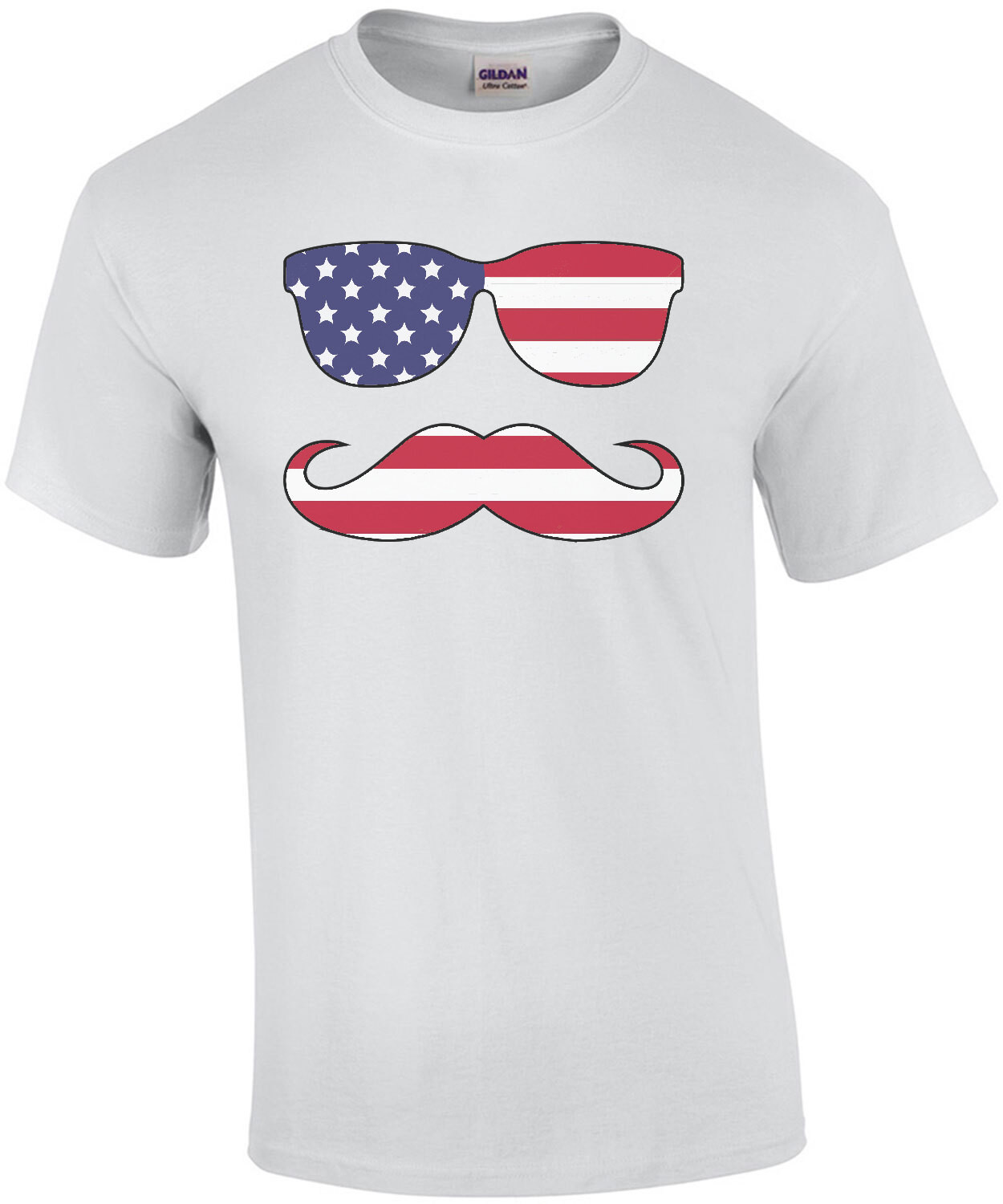 Sunglasses And Mustache Flag  - Patriotic T-Shirt