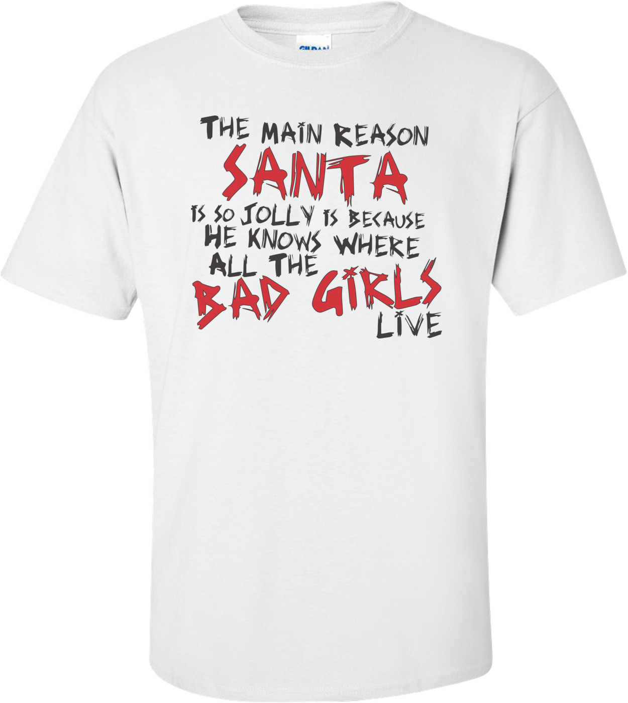 The Main Reason Santa Is So Jolly Is Because He Knows Where All The Bad Girls Live T-shirt