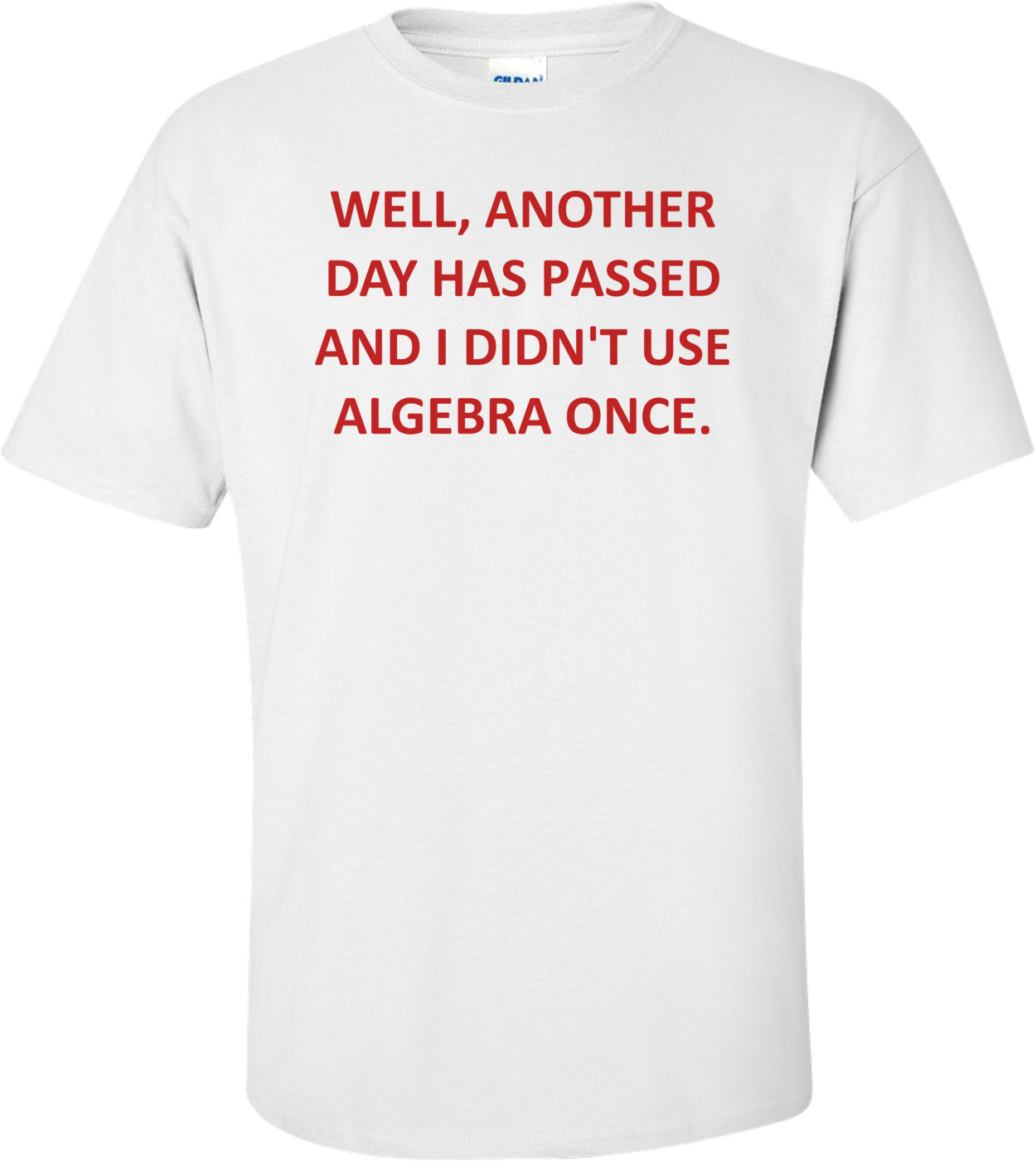 WELL, ANOTHER DAY HAS PASSED AND I DIDN'T USE ALGEBRA ONCE. Shirt
