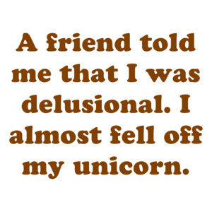 A friend told me that I was delusional. I almost fell off my unicorn. Shirt
