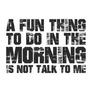 A Fun Thing To Do In The Morning Is To Not Talk To Me Shirt