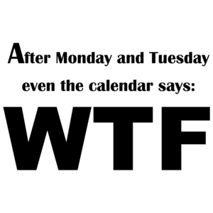After Monday And Tuesday Even The Calendar Says: Wtf Funny Shirt