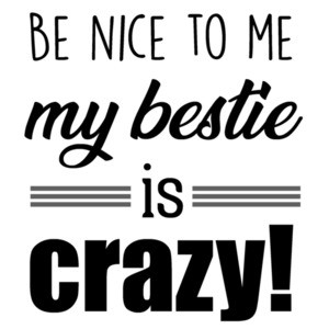 Be nice to me - my bestie is crazy! funny ladies t-shirt