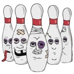 Beat Up Bowling Pins - Funny Bowling T-Shirt