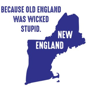 Because old England was wicked stupid. New England.  Maine, Vermont, New Hampshire, Massachusetts, Rhode Island, and Connecticut - New England T-Shirt