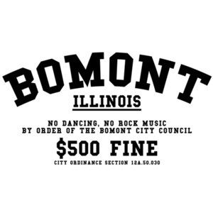 Bomont Illinois - No Dancing, No Rock Mysic By order of Bomont City Council $500 fine - Footloose 80's T-Shirt