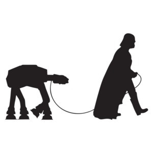 darth vader walking an at-at on a leash - Funny Star Wars T-Shirt
