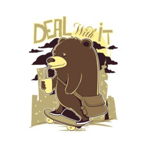 Deal With It Skateboarding Bear T-Shirt