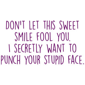 Don't let this sweet smile fool you. I secretly want to punch your stupid face. Funny rude ladies t-shirt