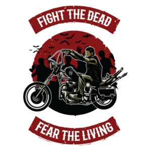 Fight The Dead Fear The Living Motorcycle Biker Zombie T-Shirt