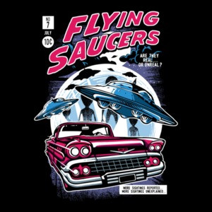 Flying Saucers Retro Ufo Comic Book T-Shirt
