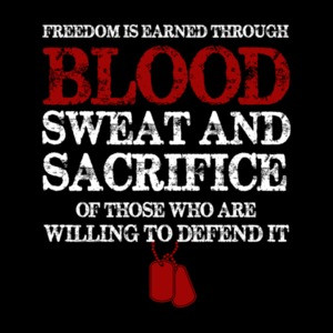 Freedom Is Earned Through Blood Sweat And Sacrifice Veterans Military T-Shirt