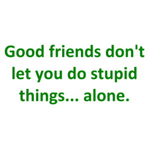 Good friends don't let you do stupid things... alone. Shirt