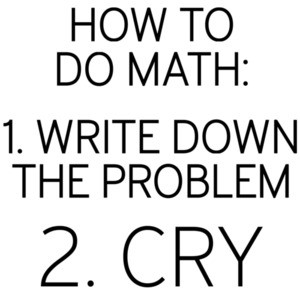 How to do math: 1. write down the problem 2. cry - math t-shirt